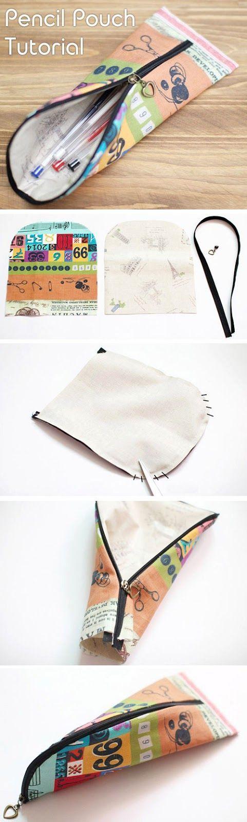 Voici une forme originale pour ranger ses crayons. Il faut 2 morceaux de tissus et une demi-fermeture Zip : Pour plus de précisions: il faut coudre le ruban du zip en sandwich entre les 2 morceaux de tissus endroit contre endroit, on retourne et on met...