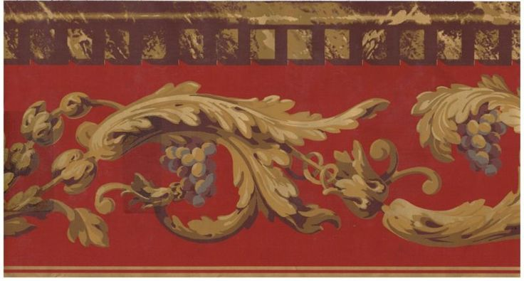 Victorian Gold Scroll Red Background Gold Amp Brown Trim