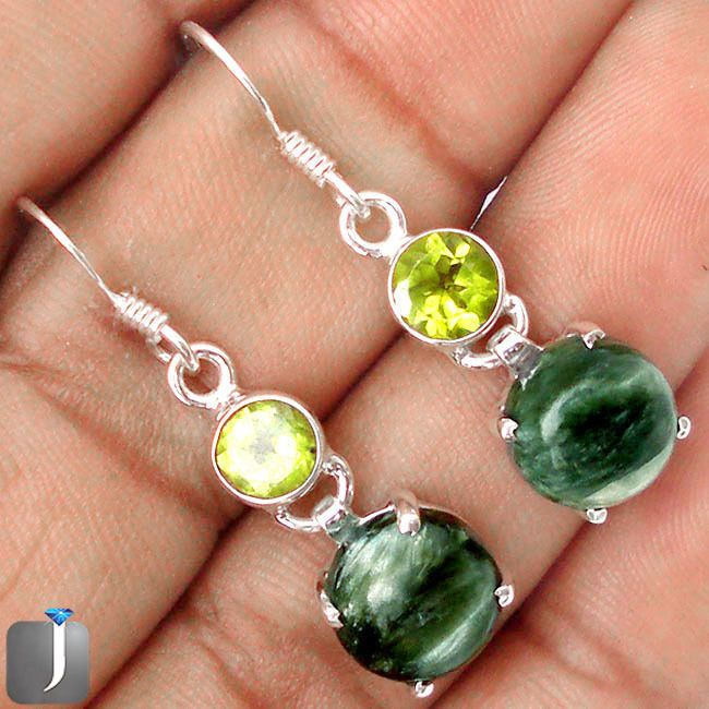 ELEGANT NATURAL GREEN SERAPHINITE PERIDOT .925 STERLING SILVER EARRINGS C84877