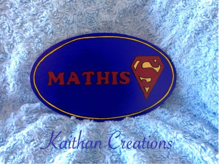Personalized wood door plaque by Kaithan Creations - Superhero theme.  Can be customized to your name, colors and superhero.   Visit my Facebook page for more ideas. www.facebook.com/kaithancreations