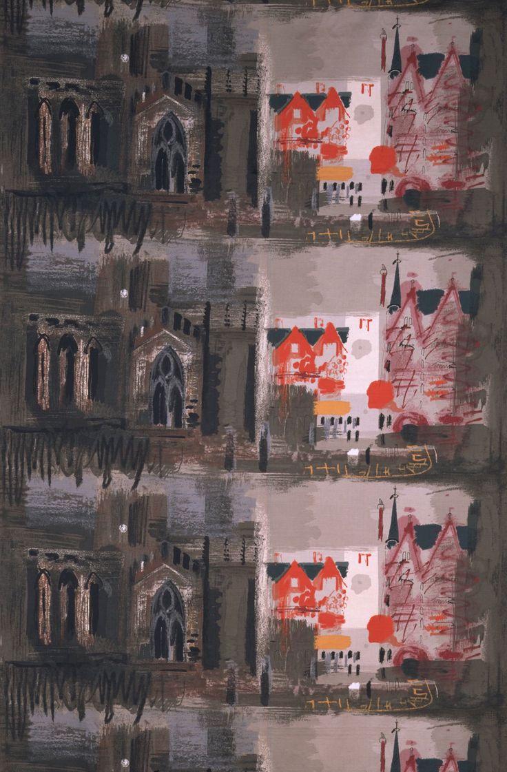 'Northern Cathedral', furnishing fabric, John Piper, 1961. Museum no. CIRC.586-1963
