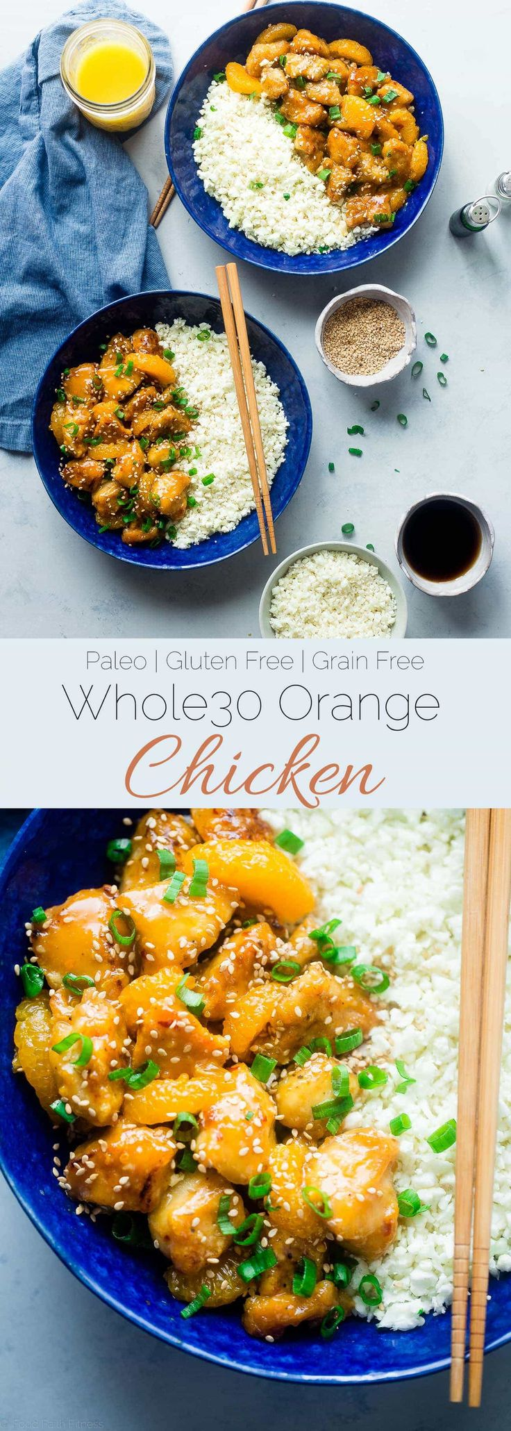 Whole30 Orange Chicken - This 30 minute, paleo orange chicken is so much better and healthier than takeout! It's a quick and easy, whole30 compliant dinner that the whole family will love!   Foodfaithfitness.com   @FoodFaithFit