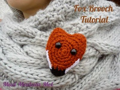 vossen broche haken - crochet fox brooch tutorial