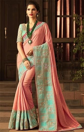 db4f529ddbc5d5 Fashionable Peach-Green Art Silk Party Saree Beige-Green Blouse in 2019 |  Party Wear Sarees | Silk sarees, Embroidered silk, Peach saree