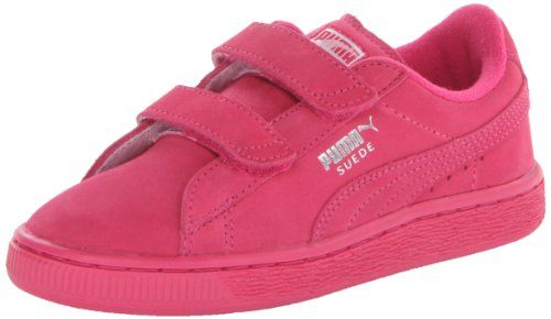PUMA Suede Classic 2-Strap Sneaker (Toddler/Little Kid/Big Kid),Beetroot Purple/Silver,2 M US Little Kid. Fit: True to Size. Dual-strap hook-and-look closure for easy on/off. Outsole: Rubber. Classic suede upper with PUMA Formstripe and perforated detailing at midfoot. Features of this item include: Suede. Upper: Suede. Rubber sole. Removable Kinder-Fit sockliner and cushioned midsole for optimum comfort. Item dimensions: width: 100, height: 100. Non-marking rubber outsole for added...