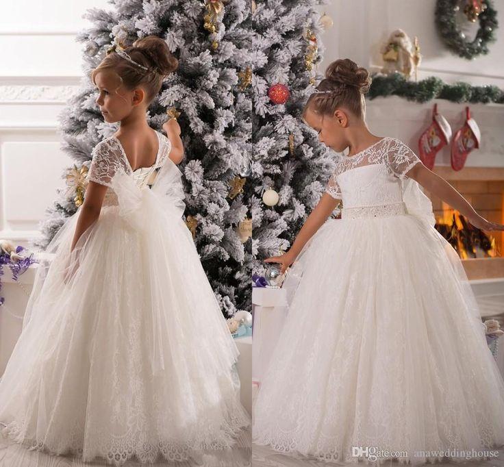 White Flowergirl Navidad vestidos de manga corta de encaje de los vestidos de bola para la boda acanalada encantadora Bow Sash Princesa Evening girl vestido del desfile