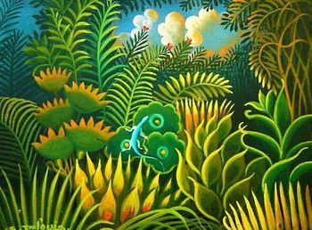 original haitian painting by eric jn louis 6x8 oil on board collector item #5MFN www.naderhaitianart.com
