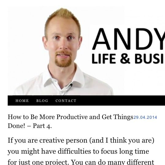 How to Be More Productive and Get Things Done! – Part 4.  If you are #creative #person (and I think you are) you might have #difficulties to #focus #long #time for just one #project. You can do many #different things and each one of them are #valuable to #people. But then you might lose your focus. So if you #want to be more #productive and want to get things done, put all your #effort to one project at last #one #year!  #inspiration #motivation #dreams #goals #change  http://AndyHopi.com