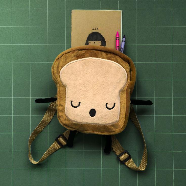 Mr. Little Bread Slice backpack for your kids! Lovely 20x20 cm backpack. Buy this in Etsy!