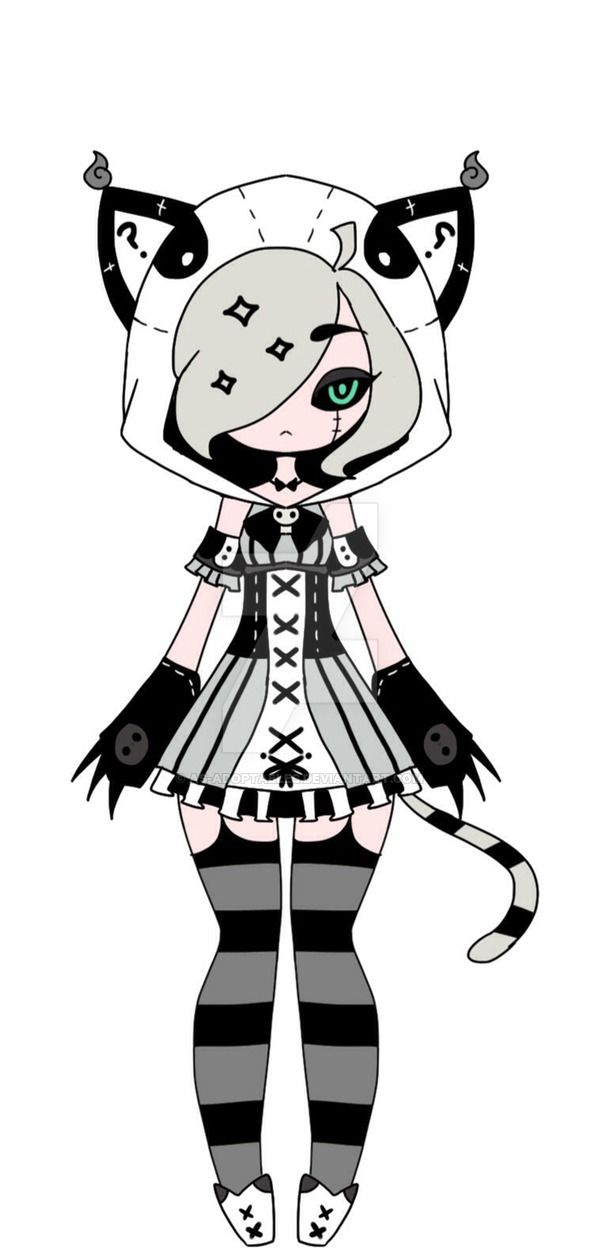 cheap monochromatic neko adoptable closed by AS-Adoptables.deviantart.com on @DeviantArt