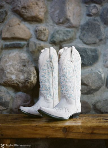 White Cowboy Boots for Western Themed Wedding.  Photographed at Brooks Lake Lodge and Spa. http://brookslake.com/index.php/events/weddings