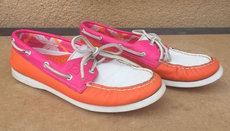 Sperry A/O Boat Shoes Pink/Wht/Orange Ladies Size 7 | Clothing, Shoes & Accessories, Women's Shoes, Flats & Oxfords | eBay!