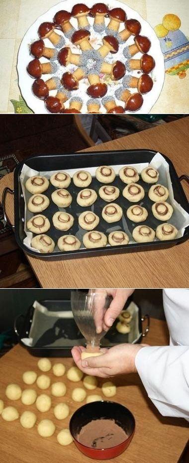 Как приготовить печенье грибочки - рецепт, ингридиенты и фотографии