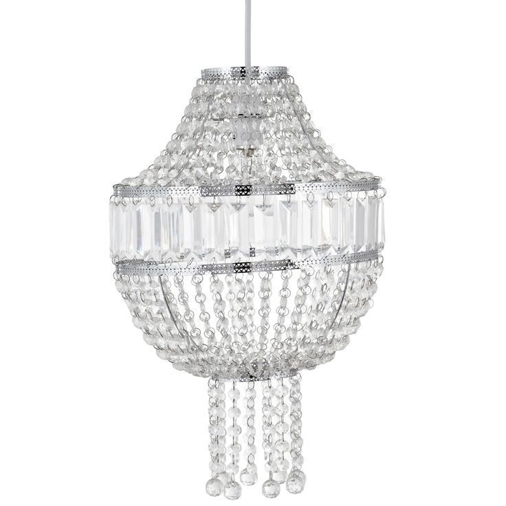 Colours cesare clear crystal effect beaded light shade d300mm