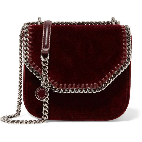 Stella McCartney The Falabella Box mini velvet shoulder bag ($1,025) ❤ liked on Polyvore featuring bags, handbags, shoulder bags, burgundy, shoulder hand bags, stella mccartney handbags, burgundy purse, chain shoulder bag and summer handbags