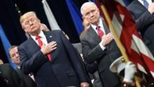 President Donald Trump was in Quantico, Virginia, Friday morning to give a graduation speech to the FBI National Academy. Before he spoke, he was seated next to Attorney General Jeff Sessions.