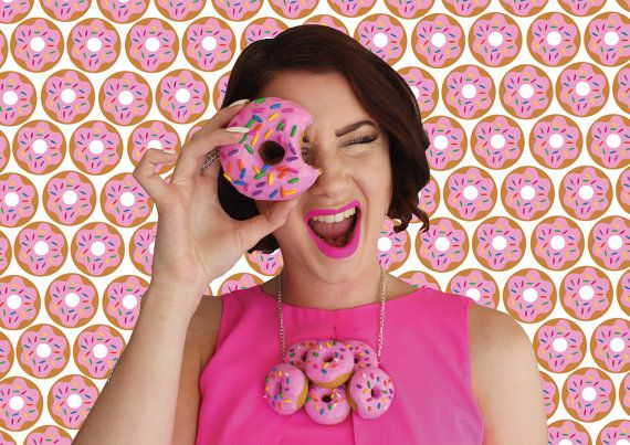 Donut Necklace Doughnut Donuts Food Sweet Candy Necklaces Pink Yum Bite Color Sprinkles Love Necklace Design Food Jewelry Accessories