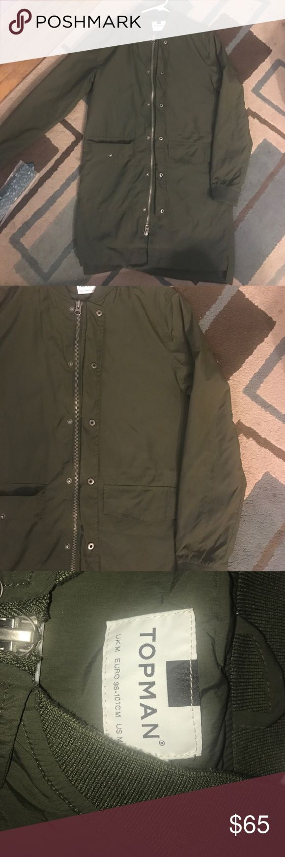 Topman lightweight longline bomber for men Men's TOPMAN longline bomber. Super lightweight in a Khaki green. It's an awesome buy.. only worn 3 times. Double zipper and snap closure. Topman Jackets & Coats