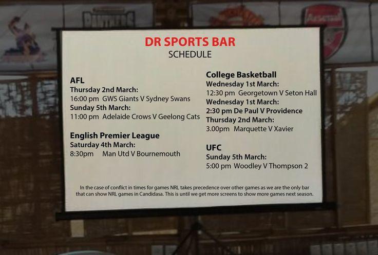 Check out this week AFL, English Premier League, College Basketball, & UFC schedule www.diningroomcandidasa.com  #bali #sportsbar #AFL #Englishpremierleague #collegebasketball #ufc #candidasa #eastbali #beer #fun #pizza #sports #fans #travel #traveler