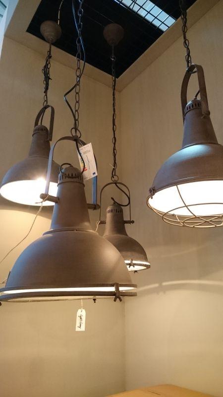 Industriele hanglamp antiek koper