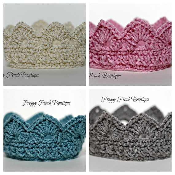 Crochet Baby Crowns, You Choose Size and Color, Boy or Girl Baby, Prince, Princess, Photography Prop, Photographer Prop via Etsy