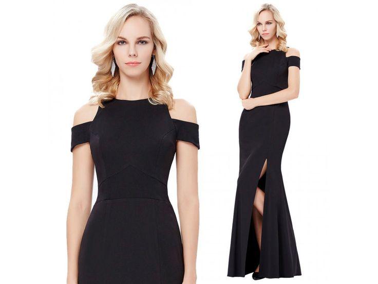 ČERNÉ společenské šaty Grace Karin, RYCHLÉ DODÁNÍ - Bestmoda - classic black long prom evening dress