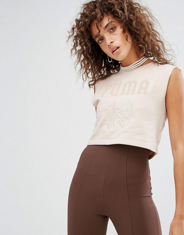 Buy it now. Puma X Fenty Sleeveless Cropped Crew Neck - Grey. Top by PUMA, Designed in collaboration with Rihanna Fenty, Soft-touch jersey, Crew neck, PUMA logo print to chest, Embroidered lace detail, Raw-cut edges, Cropped cut, Regular fit - true to size, Specialist dry clean, 79% Cotton, 16% Polyester, 5% Elastane, Our model wears a UK S/EU S/US XS and is 170cm/5'7 tall. Mixing the world of sports and lifestyle, PUMA's innovative products successfully fuse the creative influences from the…