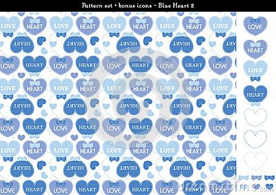A seamless heart background in blue color theme. It comes a set with extra bonus heart icons. Fully editable.