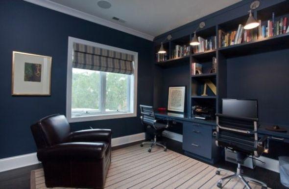 espace de travail décoré en bleu