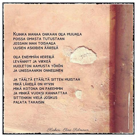#kesken #runo #lomalla