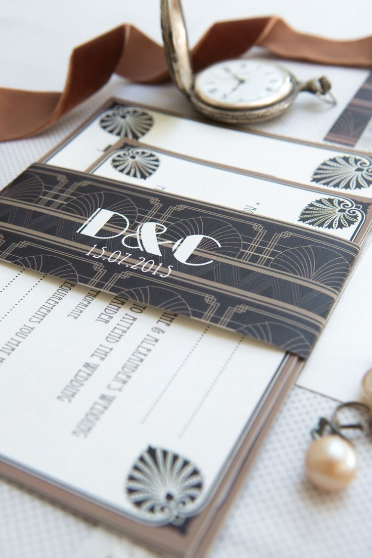 My Deco Glamour range of wedding stationery in black gold and ivory, available to purchase from http://www.knotsandkisses.co.uk/product-category/vintage-collection/vintage-collection-deco-glamour/