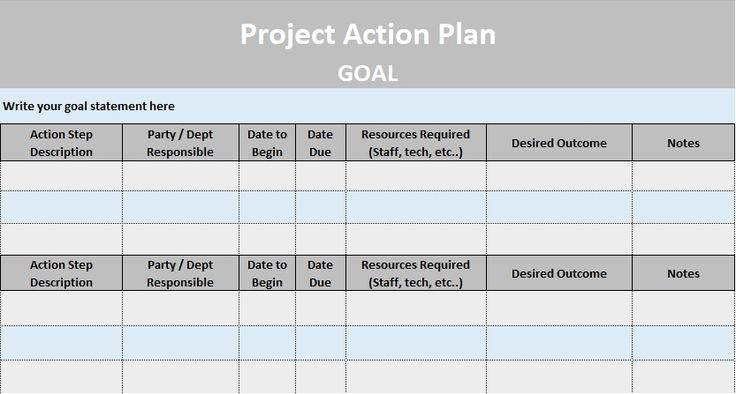 Project Action Plan Template Excel - Costumepartyrun