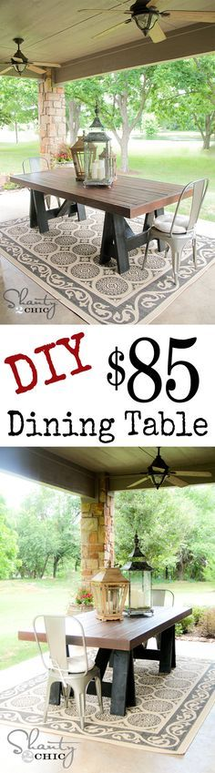 DIY Pottery Barn Dining Table! LOVE! @Shanti Leeuwen Yell-2-Chic.com. Fabulous outdoor table for $85.00 and great step by step directions for us less than handy men & women.