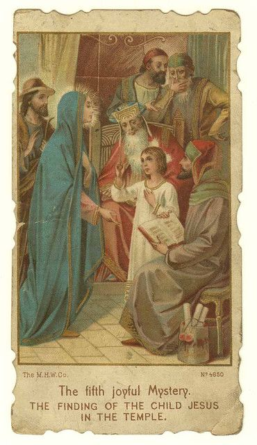 Holy Card depicting the Fifth Joyful Mystery, the finding of Jesus in the temple