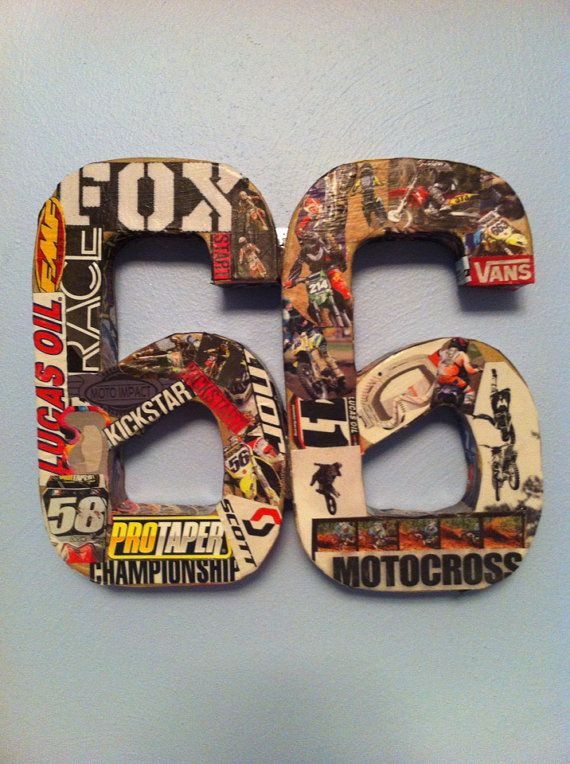 Could make letters or numbers from decoupage decals or stickers on wooden cutouts like these