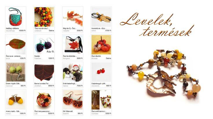 Levelek, termések - Gloriosa őszi szemezgetője, Illusztráció: Kricsar - Őszi levélkapocs réz nyaklánc  http://www.meska.hu/ProductView/index/740322  #fall #leaves #leaf