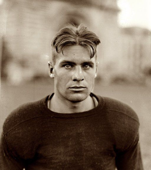 """Barchet, fullback, Navy, 1922."""" Steve Barchet, backfield star of the Naval Academy in Annapolis. National Photo Company Collection. Via www.shorpy.com"""