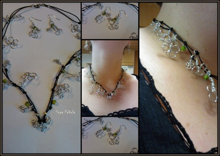"""""""Onnen apilat"""" """"My Lucky Charm"""" Aluminium wire and glass beads in leather cord"""