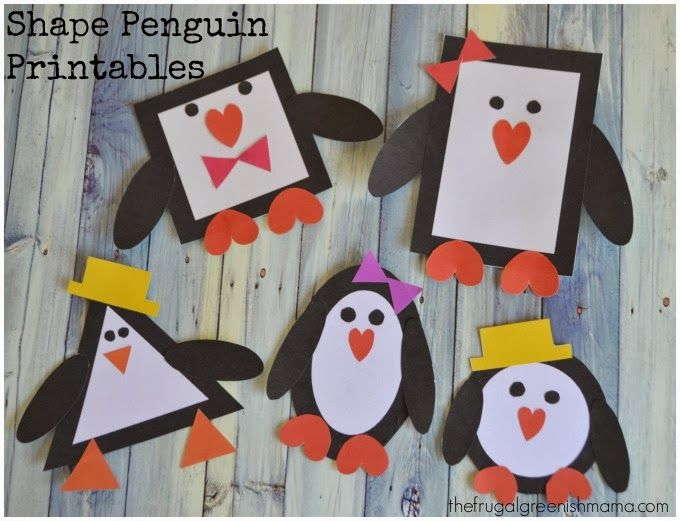 "Shape Penguins. Turn this project into a little game by asking the kids to match the ""bellies"" to the right penguin. Then glue on the faces. Pre-glue feet to bodies."