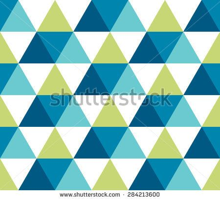 Triangular blue, turquoise, green, white geometric seamless pattern. Abstract geometrical background of triangle, delta, trigon. Modern stylish texture. Repeating tiles from triangles. Vector.