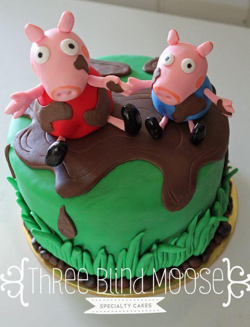 Peppa pig cake boy design, lots of glorious mud. By Three Blind Moose Specialty Cakes, Korumburra, Victoria
