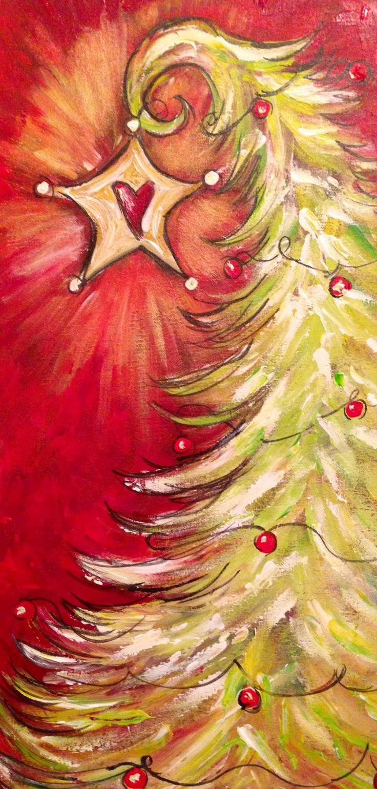 Christmas tree painting with a heart star on top.
