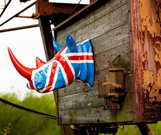 Union Jack Wall Mounted Rhino Head - Unique wall art Union Jack home accessories by Smithers.
