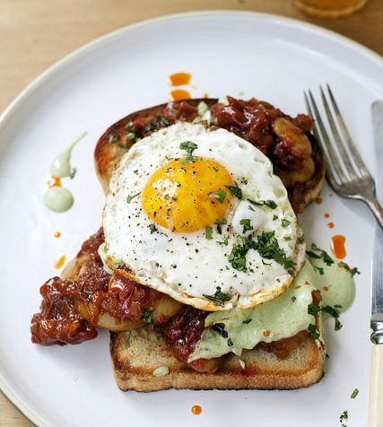 Indian Baked Beans on Toast with yogurt and green chutney and an egg | Tara O'Brady for The Globe and Mail