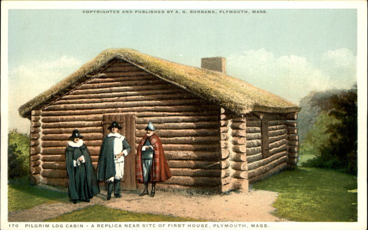 Pilgrim Log Cabin ~ Plymouth Massachusetts MA c1910 ~Detroit Publ AS Burbank 170 | eBay
