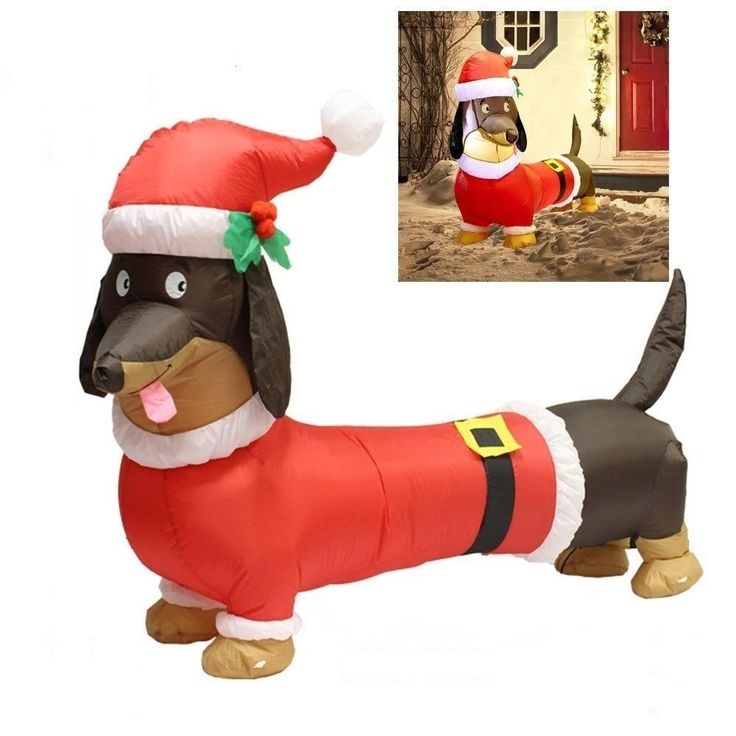 Rocinha 5ft Christmas Inflatables Wiener Dog Blow Up Christmas Decorations Dachshund Christmas Outdoor Decorations for Garden Lawn Yard Christmas Decorations Indoor Party