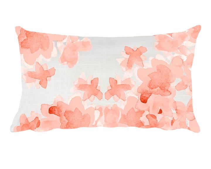Coral Floral Pillow, 12x20, Coral Throw Pillow, Coral Nursery Pillow, Coral Lumbar Pillow, Peach Nursery Decor, Flower Pillow, Orange Pillow by OutsideInArtStudio on Etsy