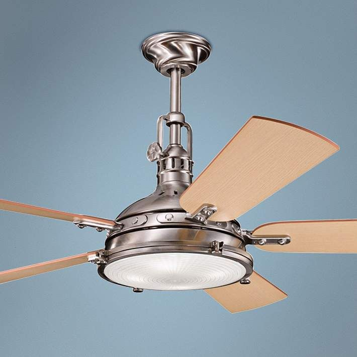 "$599.99    56"" Kichler Hatteras Bay Brushed Stainless Steel Ceiling Fan"