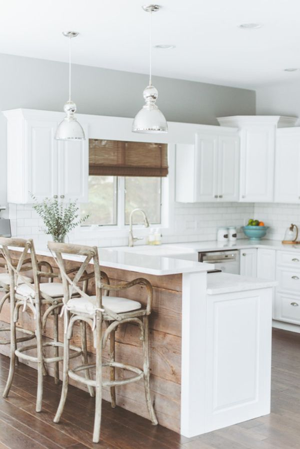 modern country white and wood kitchen