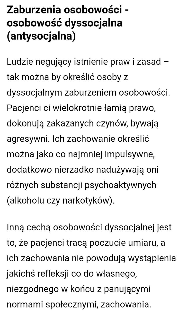 Zaburzenia osobowości - osobowość dyssocjalna (antysocjalna)